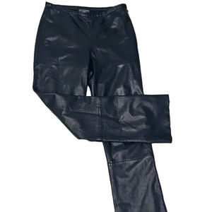 Banana Republic Black Leather Straight Leg Pants